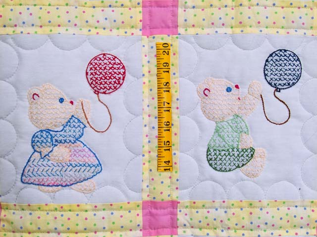 Embroidered Bears Crib Quilt Photo 3