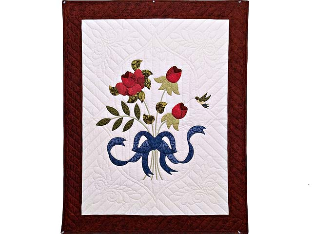 Burgundy Rose and Blue Lancaster Treasures Wall Hanging Photo 1