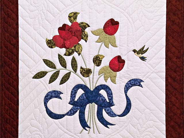 Burgundy Rose and Blue Lancaster Treasures Wall Hanging Photo 2