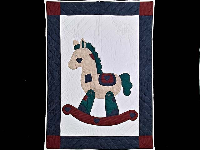 Navy and Burgundy  Rocking Horse Crib Quilt Photo 1