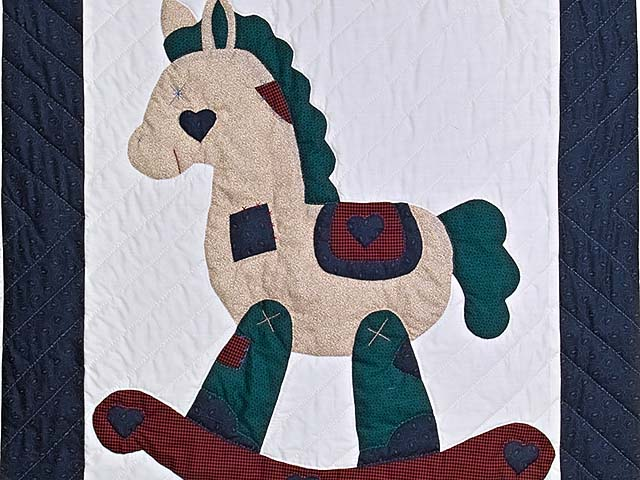 Navy and Burgundy  Rocking Horse Crib Quilt Photo 2