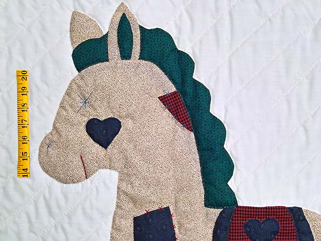 Navy and Burgundy  Rocking Horse Crib Quilt Photo 3