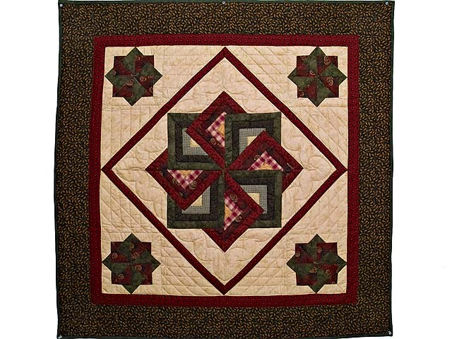Green Burgundy and Tan Star Spin Wall Hanging Photo 1
