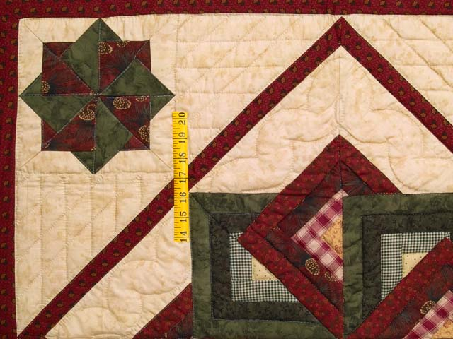 Green Burgundy and Tan Star Spin Wall Hanging Photo 3