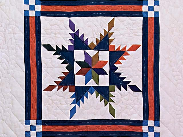 Multicolor Feathered Edge Star Crib Quilt Photo 2