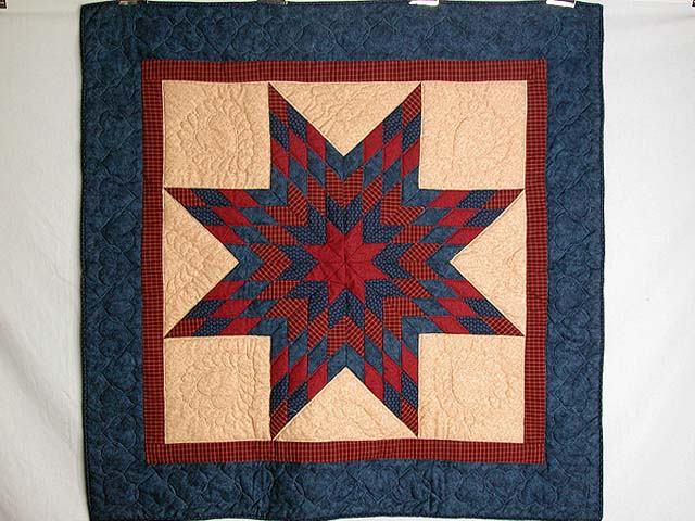 Navy and Burgundy Lone Star Wall Hanging Photo 1