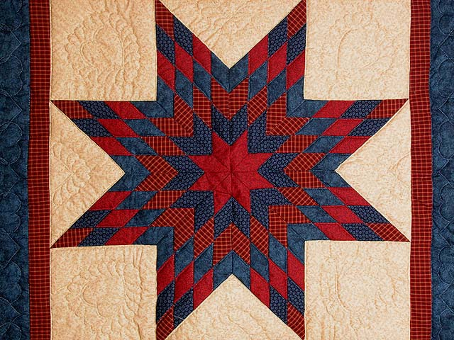 Navy and Burgundy Lone Star Wall Hanging Photo 2