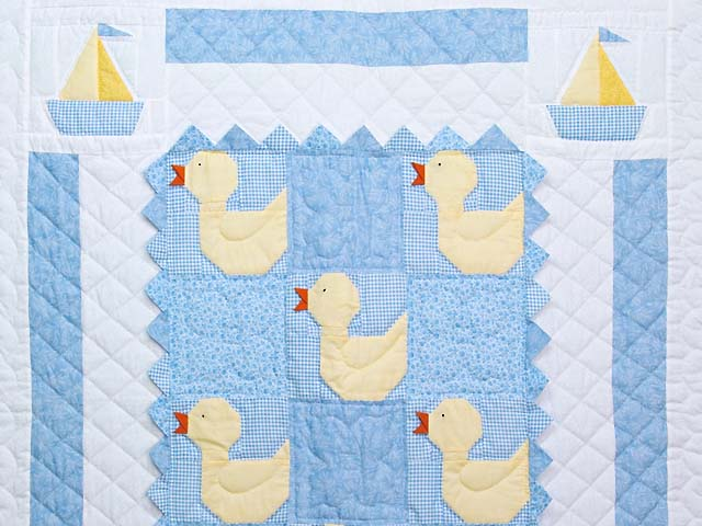 Pastel Blue and Yellow Ducks and Boats Crib Quilts Photo 2