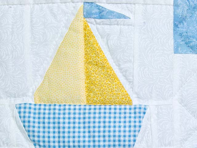 Pastel Blue and Yellow Ducks and Boats Crib Quilts Photo 5