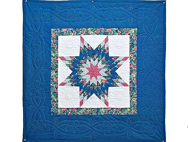 Blue and Rose Lone Star Wall Hanging Photo 1