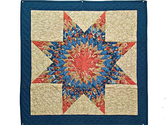 Blue Coral and Tan Lone Star Wall Hanging Photo 1