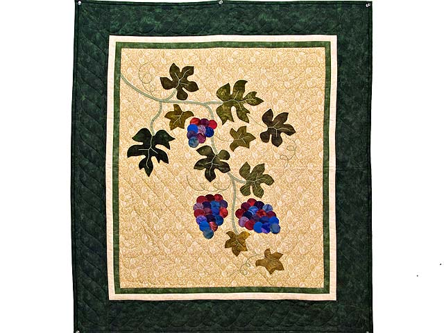 Dark Green and Plum Vineyard Wall Hanging Photo 1