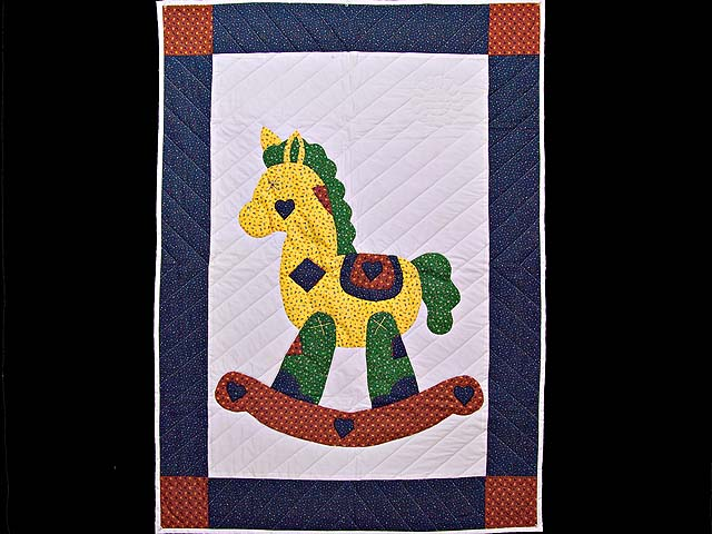 Navy and Rusty Red Rocking Horse Crib Quilt Photo 1