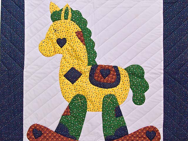 Navy and Rusty Red Rocking Horse Crib Quilt Photo 2