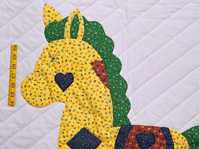 Navy and Rusty Red Rocking Horse Crib Quilt Photo 3