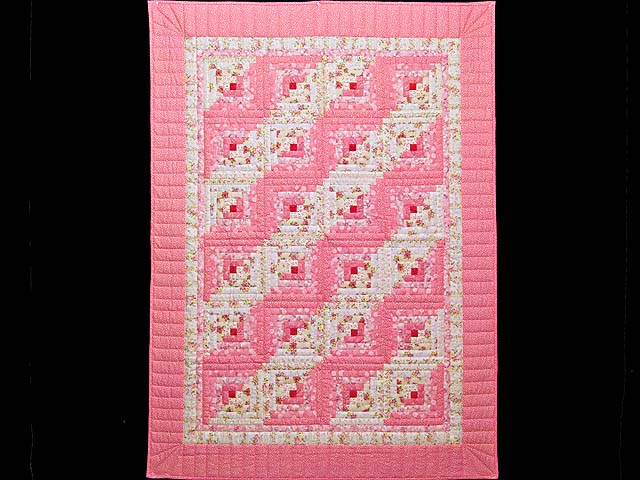 Princess Pink and Cream Log Cabin Crib Quilt Photo 1