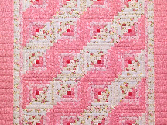 Princess Pink and Cream Log Cabin Crib Quilt Photo 2