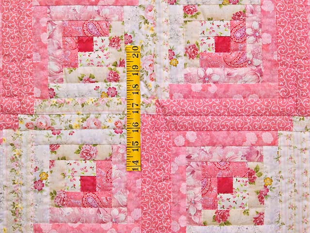 Princess Pink and Cream Log Cabin Crib Quilt Photo 3