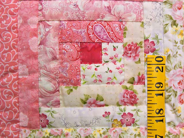 Princess Pink and Cream Log Cabin Crib Quilt Photo 4