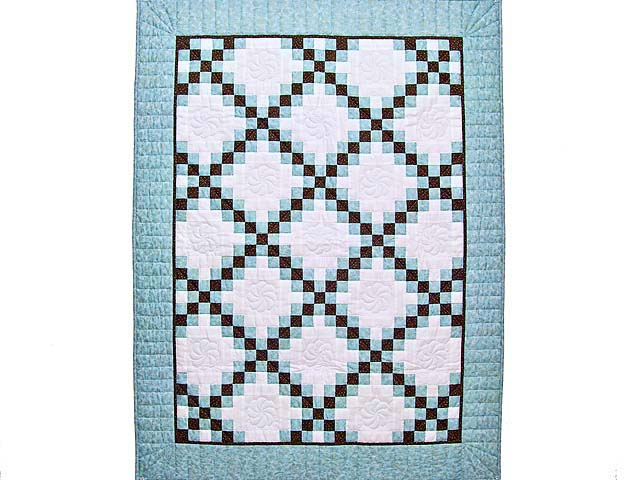 Aqua Blue Brown and Cream Irish Chain Crib Quilt Photo 1