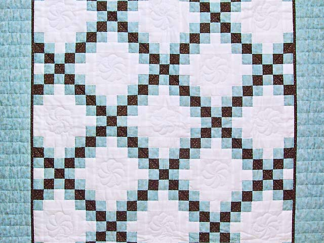 Aqua Blue Brown and Cream Irish Chain Crib Quilt Photo 2