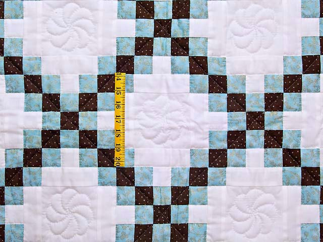 Aqua Blue Brown and Cream Irish Chain Crib Quilt Photo 3