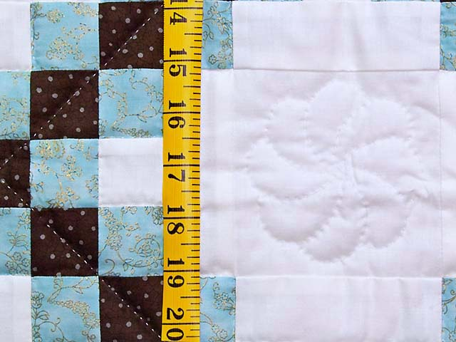 Aqua Blue Brown and Cream Irish Chain Crib Quilt Photo 4