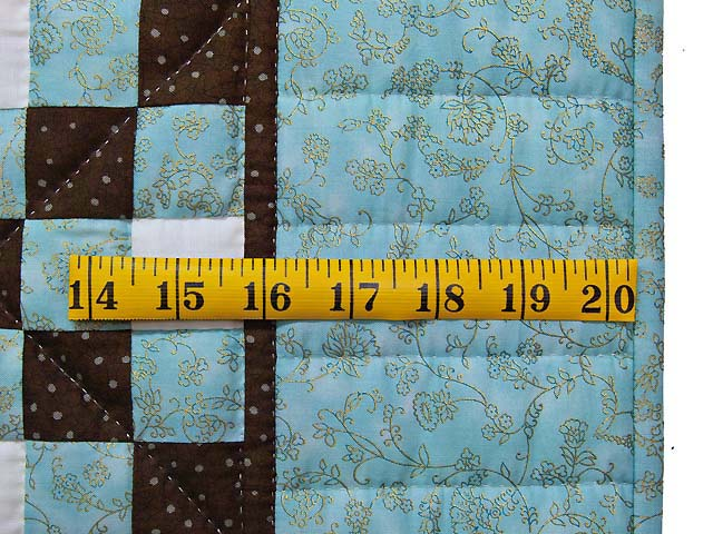 Aqua Blue Brown and Cream Irish Chain Crib Quilt Photo 5