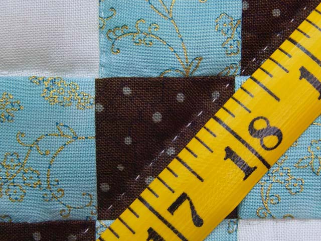 Aqua Blue Brown and Cream Irish Chain Crib Quilt Photo 6