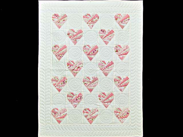 Pink and Cream Patchwork Hearts Crib Quilt Photo 1