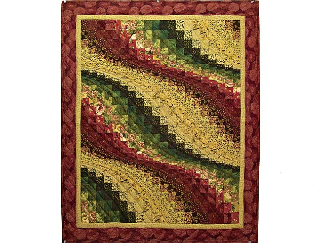 Burgundy Gold and Moss Bargello Wave Wall Hanging Photo 1