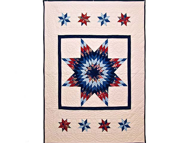 Blue Navy and Red Constellation Lone Star Throw Photo 1