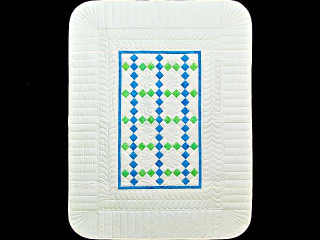 Blue and Green Nine Patch Crib Quilt Photo 1