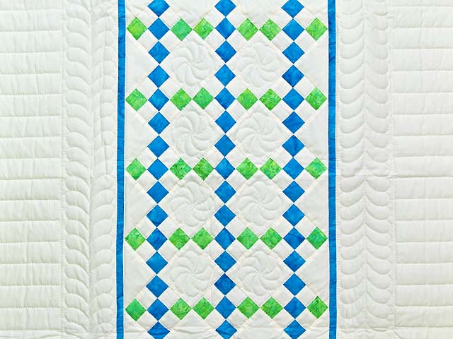Blue and Green Nine Patch Crib Quilt Photo 2