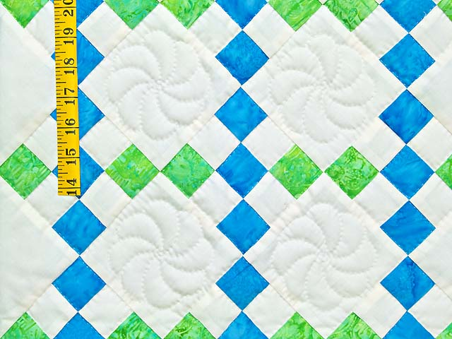 Blue and Green Nine Patch Crib Quilt Photo 3