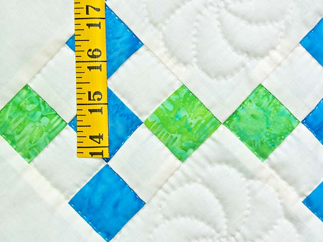 Blue and Green Nine Patch Crib Quilt Photo 4