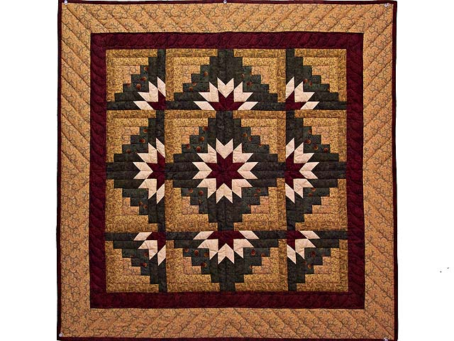 Wheat Burgundy and Green Star Burst Log Cabin Wall Hanging Photo 1