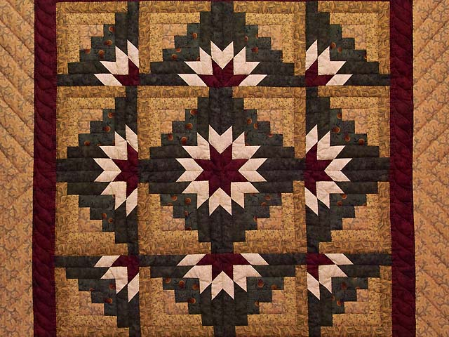 Wheat Burgundy and Green Star Burst Log Cabin Wall Hanging Photo 2