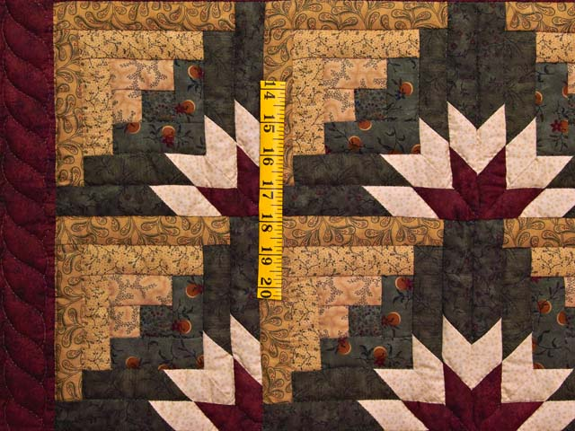 Wheat Burgundy and Green Star Burst Log Cabin Wall Hanging Photo 3