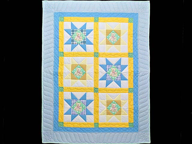 Pastel Teddy Bear Ohio Star Crib Quilt Photo 1