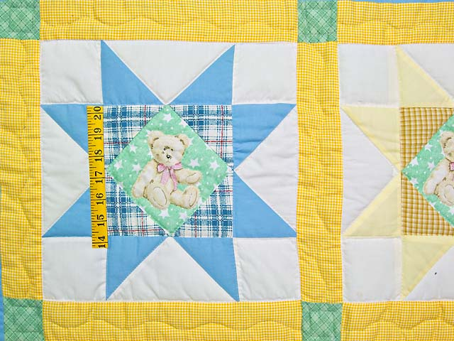 Pastel Teddy Bear Ohio Star Crib Quilt Photo 3