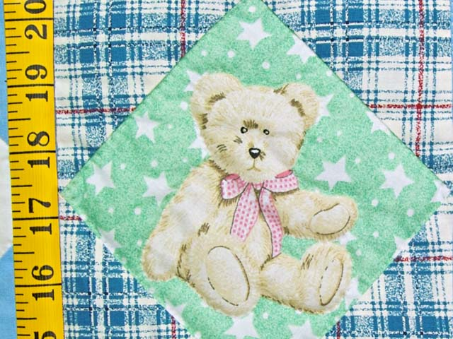 Pastel Teddy Bear Ohio Star Crib Quilt Photo 4