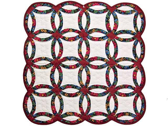 Mini Red and Green Double Wedding Ring Quilt Photo 1