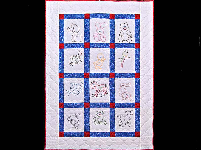 Blue and Red Cross Stitch Animals Crib Quilt Photo 1