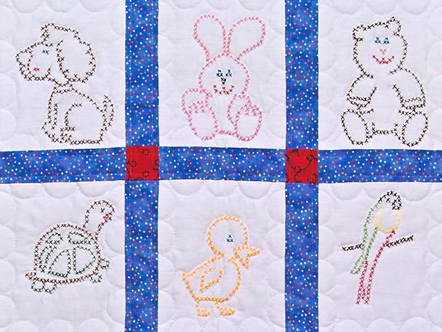 Blue and Red Cross Stitch Animals Crib Quilt Photo 2