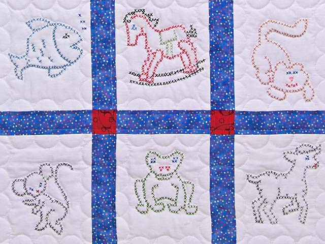 Blue and Red Cross Stitch Animals Crib Quilt Photo 3