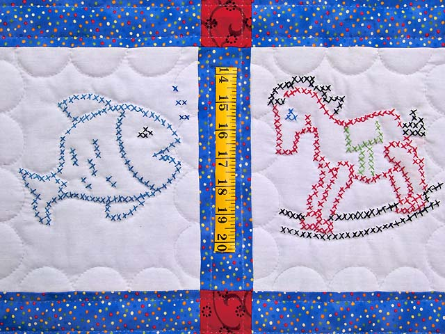 Blue and Red Cross Stitch Animals Crib Quilt Photo 4