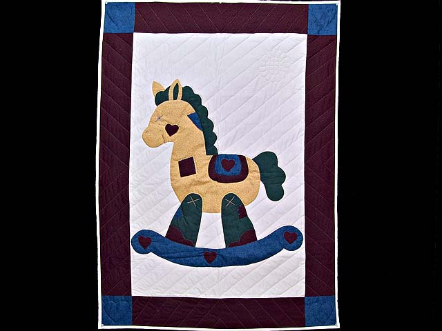 Maroon and Blue  Rocking Horse Crib Quilt Photo 1