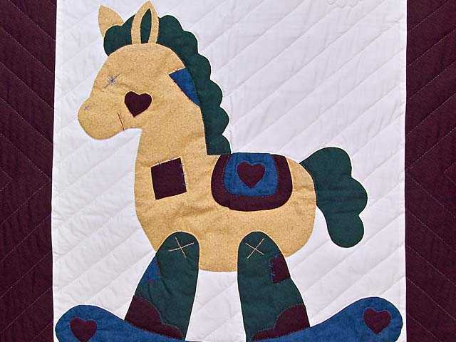 Maroon and Blue  Rocking Horse Crib Quilt Photo 2