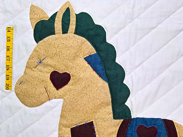 Maroon and Blue  Rocking Horse Crib Quilt Photo 3